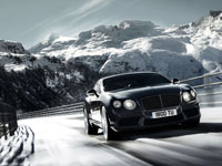 Bentley on road winter time