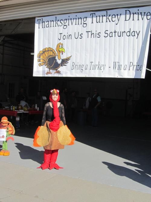 Our Turkey Mascot, Ali strutting her stuffing